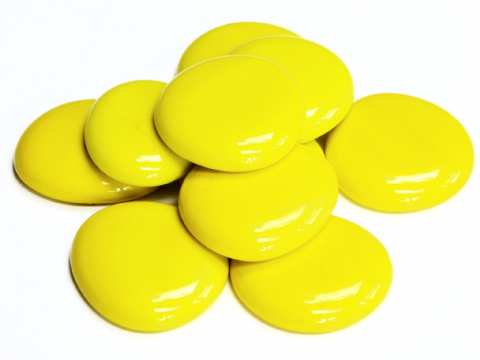 6 Large Glass Pebbles - Yellow Marble